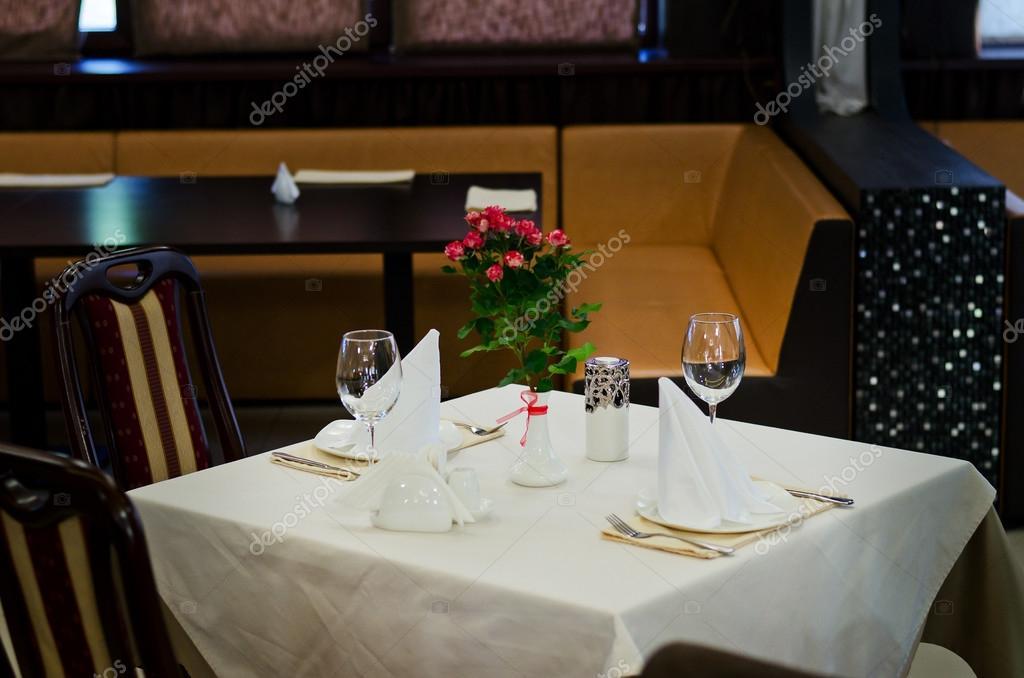 Stylish Table Setting at Restaurant \u2014 Stock Photo & Stylish Table Setting at Restaurant \u2014 Stock Photo © ampack #56260717