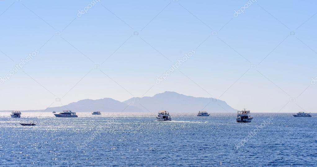 Group of tour ships and dive boats