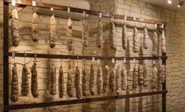 Sausage shop a lot of sausage sticks