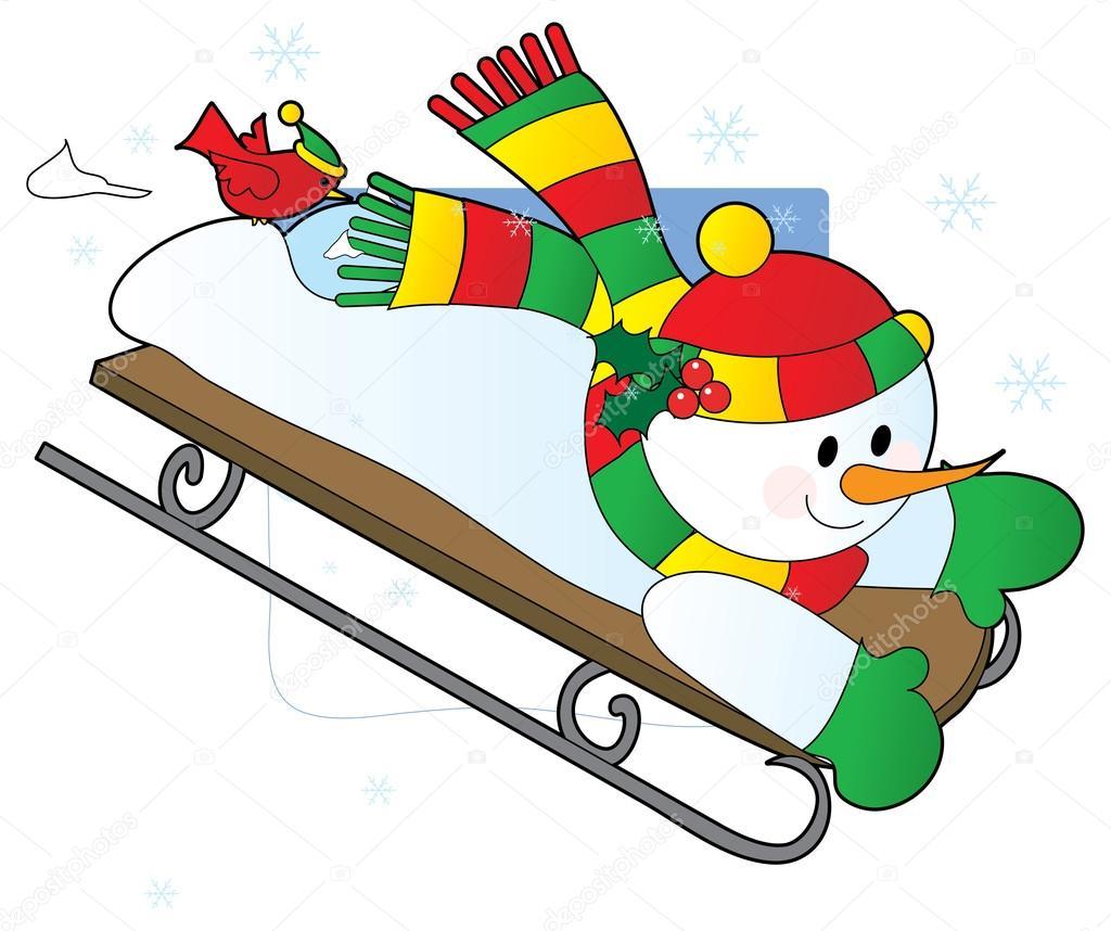 Sněhulák, sáňkování dolů z kopce — Stock Vektor © mkoudis ...