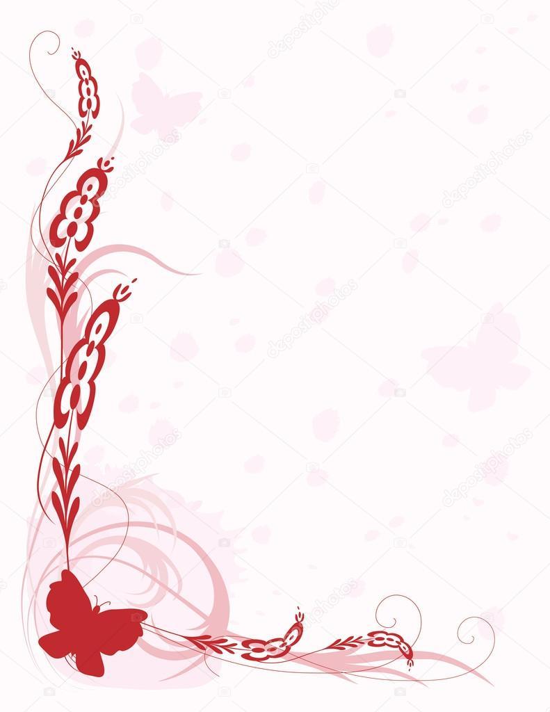 bordure rose avec papillons  u2014 image vectorielle mkoudis  u00a9  66290311
