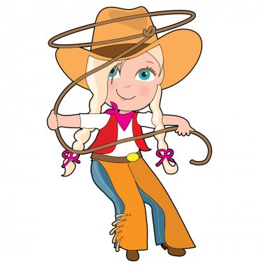 A young girl is dressed like a cowgirl