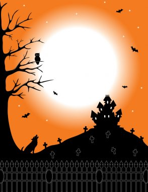 Silhouette haunted house on the hill of cemetery.Vector illustration background stock vector