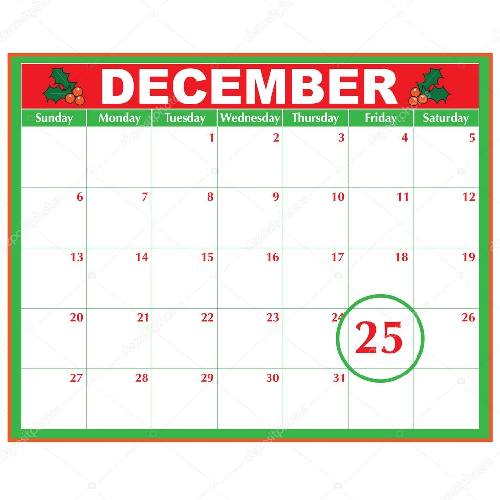 A December Calendar Showing The 25th Prominently Stock