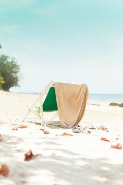 Sun chair on a tropical beach