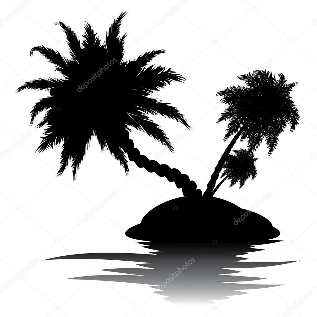 palme auf insel silhouette stockvektor artshock 109351376. Black Bedroom Furniture Sets. Home Design Ideas