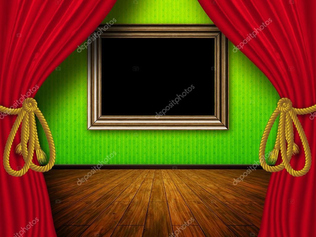 kamer met rode gordijnen en frame stockfoto