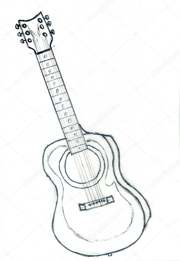 bosquejo de la guitarra acústica — Fotos de Stock © artshock #114192118