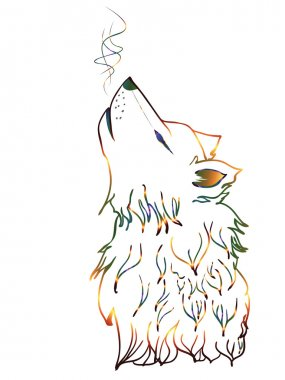 Colorful Howling Wolf