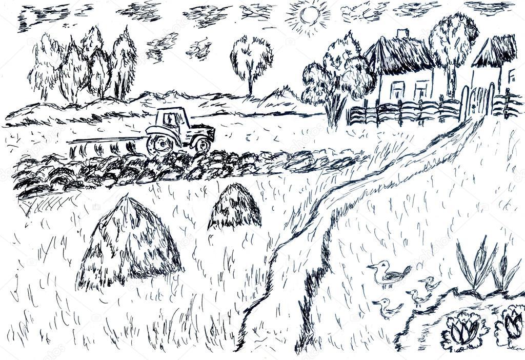 Rural Landscape Sketch Stock Photo C Artshock 73824379