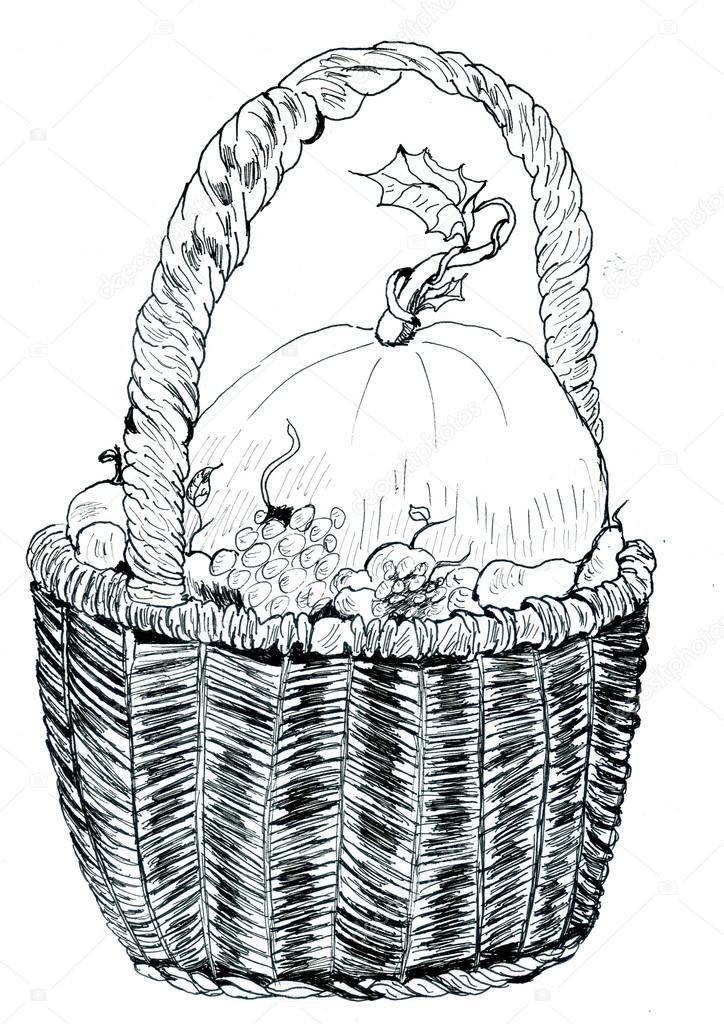 Imágenes: dibujo de cesta de frutas y verduras | Dibujo de cesta de ...
