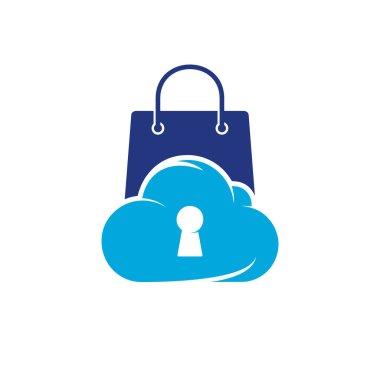 Online Shop logo designs concept vector, Pixel Shop symbol template, Cloud Store logo symbol icon