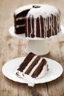 chocolate cake with coconut icing