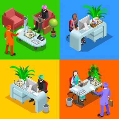 Business Indian 01 Isometric People
