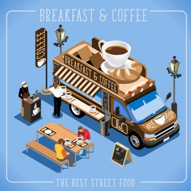 Espresso Breakfast Coffee Food Truck Delivery Master. Street Food Chef Web Template. 3D Flat Isometric Vehicles Food Truck Infographic Elements Isolated , Icon, JPG, JPEG, Picture, Image, Graphic, Art, Illustration, Drawing, Object, Vector, EPS, AI, stock vector