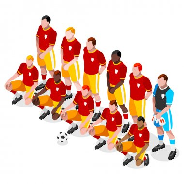 Soccer Team Players Athlete Sports Icon Set.3D Isometric Soccer Match Team Players.Sporting International Competition Championship.Olympics Sport Soccer Infographic Football Vector Illustrationon