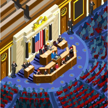 Election Infographic Parliament Hall Us Vector Isometric People