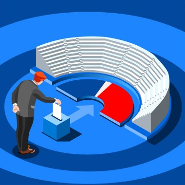 Election Infographic Parliament Vote Vector Isometric People