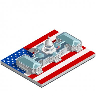 Election Infographic Politic Congress Vector Isometric Building