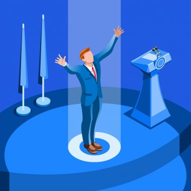 Election Infographic Political Convention Vector Isometric Peopl
