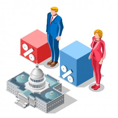 Election Infographic Pools Congress Vector Isometric People
