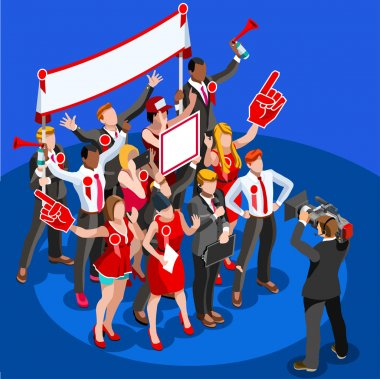 Election News Infographic Party Delegate Vector Isometric People