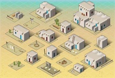 Isometric Western Rural Pueblo Basic Set Tiles