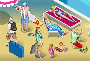 Isometric Tourists Peoples Set at Resort