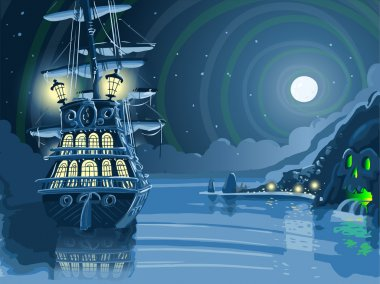 Nocturnal Adventure Island with Pirate Galleon Anchored