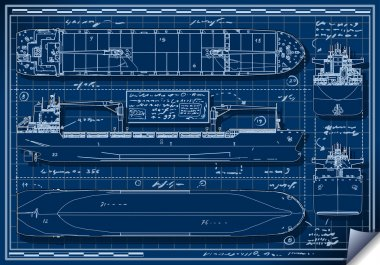 Orthogonal Blue Print of a Cargo Ship