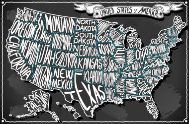 Detailed illustration of a United States of America on Vintage Handwriting BlackBoar stock vector