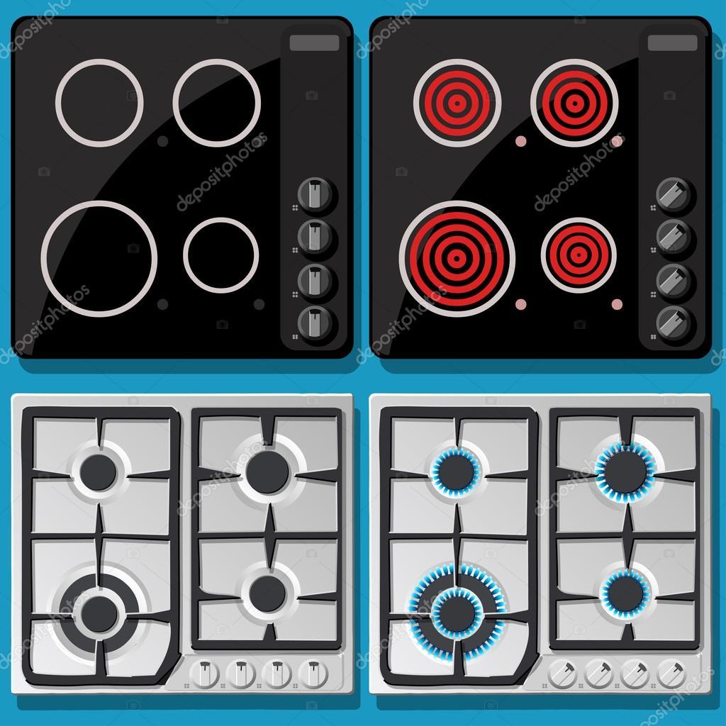induction et gazini re allum e teinte en vue de face image vectorielle aurielaki 68913029. Black Bedroom Furniture Sets. Home Design Ideas