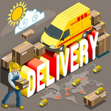 Isometric Flat Express Delivery Services 3d