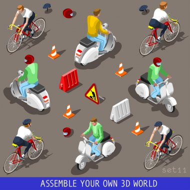 Isometric Flat 3d Vehicle Scooter Bicycle Set