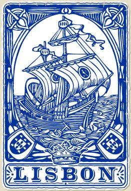 Detailed illustration of a Traditional tiles azulejos Lisbon, Portugal clip art vector