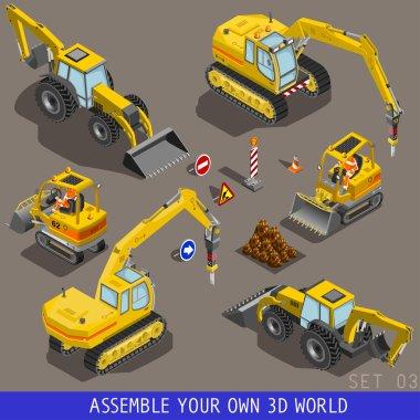 City Construction Transport Isometric Flat 3d Icon Set