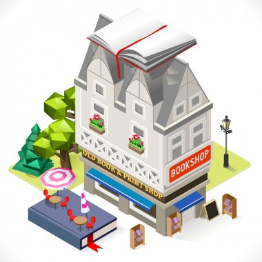 Book Shop City Building 3D Isometric