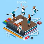 Iskolai készlet 04 emberek izometrikus