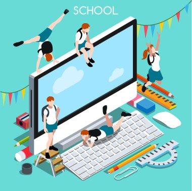 School Devices 02 People Isometric