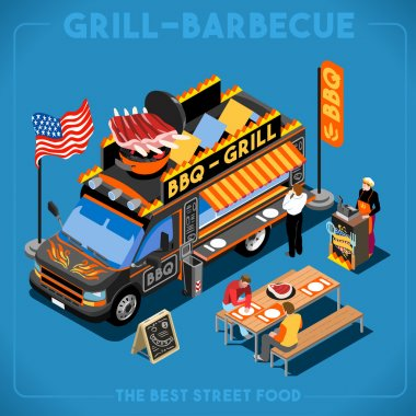 BBQ Passion Food Truck. Delivery Master. Street Food Chef Web Template. NEW bright palette 3D Flat Vector Icon Set Isometric Food Truck. Full of Taste High Quality Dishes Alternative Street Cuisine stock vector