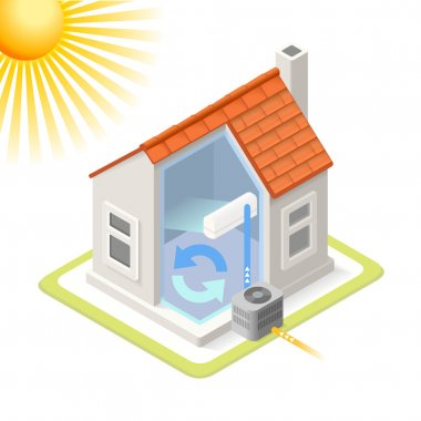 Heat Pump House Cooling System Infographic Icon Concept. Isometric 3d Soften Colors Elements. Air Conditioner Cool Providing Chart Scheme Illustration clip art vector