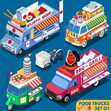 Food Truck Set01 Vehicle Isometric