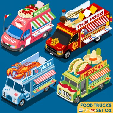 Food Truck Collection. Food Delivery Master. Street Food Chef Web Template. NEW Flat 3d Isometric Vector Food Truck Set. Full of Taste and High Quality Dishes Alternative Street Cuisine stock vector