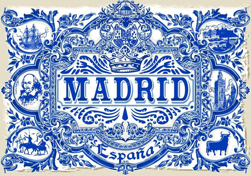 Madrid azulejos 01 vintage 2d stok vekt r aurielaki 84979814 - Azulejos vintage ...