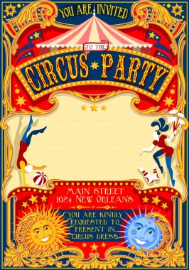 Tale of Tales You are Invited to The Court of Miracles. Circus Carnival Colorful Retro Vintage Template for your Happy Crazy Party stock vector