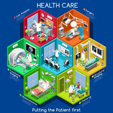 Clinical Trials and Healthcare. Hospital Departments with People NEW bright palette 3D Flat Vector Icon Set. Rooms with Patients Doctors Nurses Scrubs Staff Support Workers. Putting the Patient 1ST clip art vector