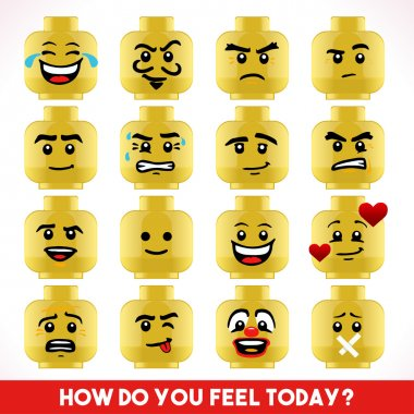 Toy Block Collection of Different Emoji Faces. Basic Toy Character Unconventional Emoticons. LoL Smiling Happy Worried Sophisticated Love Angry Crazy Young Boy stock vector