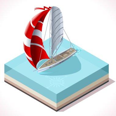 Sail Boat Set 02 Vehicle Isometric