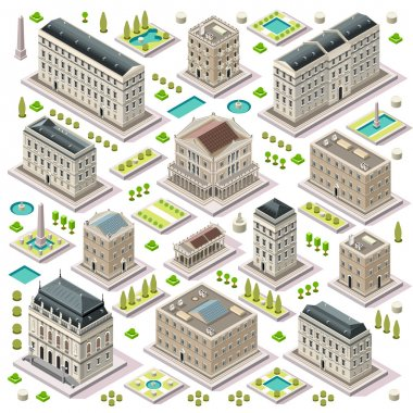 City Map Set 05 Tiles Isometric