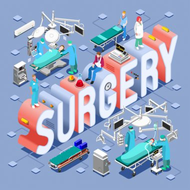 Surgery Healthcare Concept. Clinic Hospital Departments Symbols and People NEW bright palette 3D Flat Vector Set. Patients Doctors Nurses Scrubs Staff and Support Workers stock vector